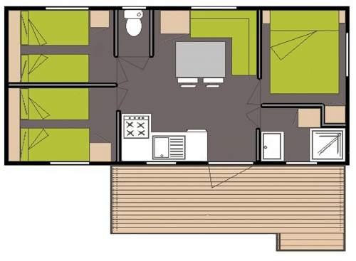 Kaart Stacaravan Laurier 3 slaapkamers Camping Domaine de gaujac
