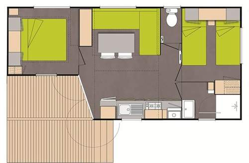 Plan Mobil Home Jonquille 2 chambres Camping Domaine de gaujac
