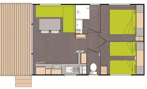 Plan Mobil Home Dahlia 2 chambres Camping Domaine de gaujac