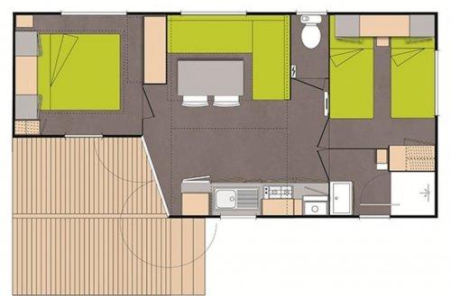 Iris Stacaravan Plan 2 slaapkamers Camping Domaine de gaujac